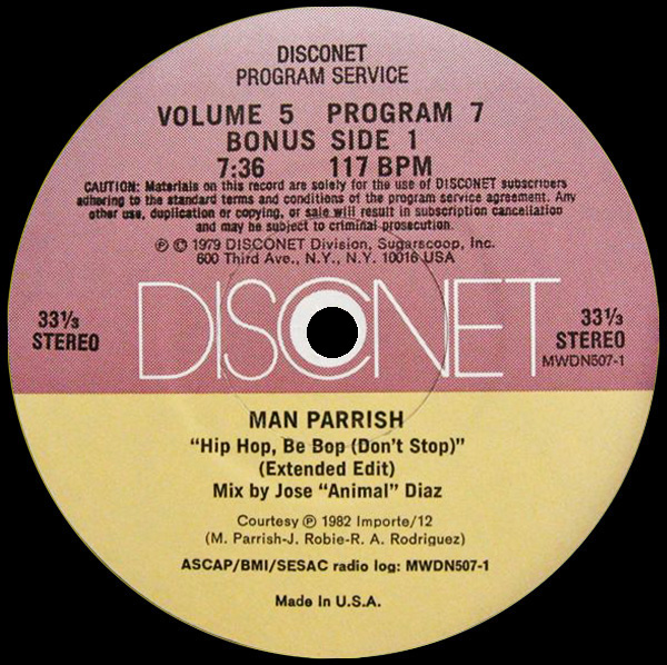 Man Parrish 'Hip Hop Be Bop (Don't Stop)' (Disconet)